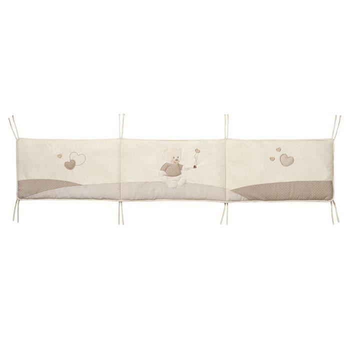 tour de lit beige bébé TINEO Tour de Lit Ourson Ecru et Taupe   Achat / Vente tour de lit  tour de lit beige bébé