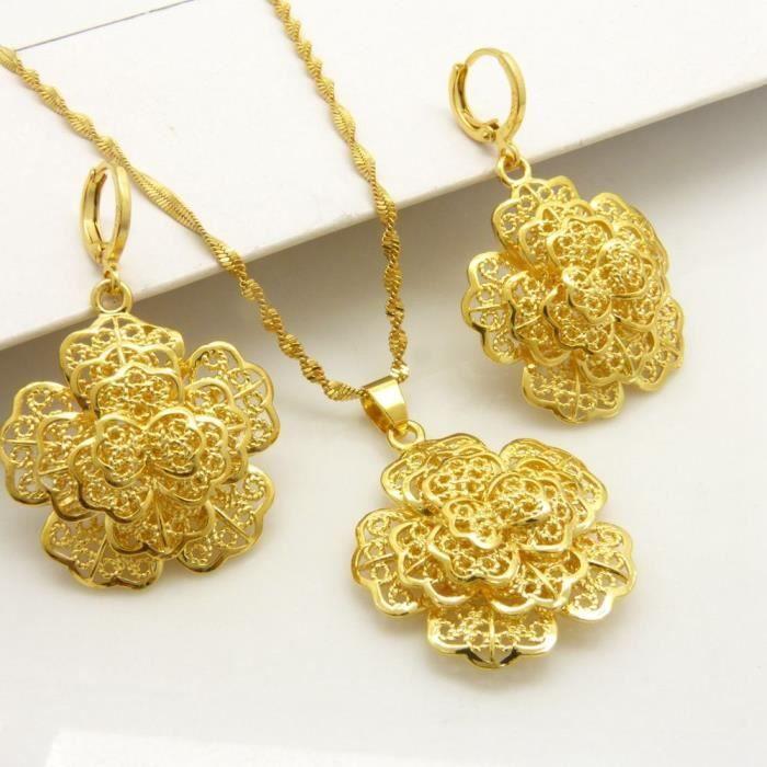 Pendentif en fleurs en filigrane + boucles doreilles set ensemble de bijoux pour femmes en or jaune 18 carats
