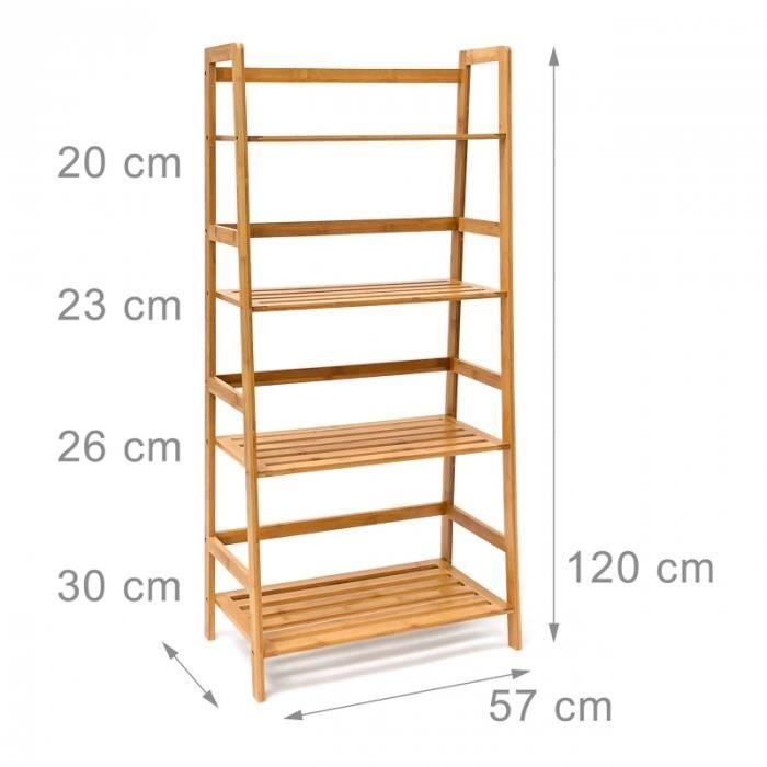 Delicieux Armoire étagère Meuble Salle De Bain Multifocntion En Bambou 120 Cm 3213059