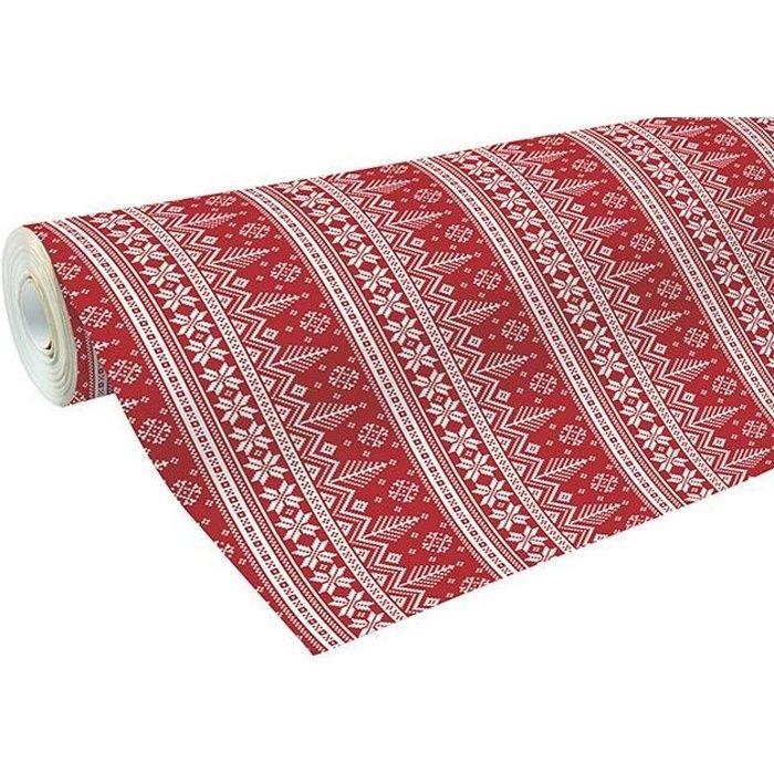 gros rouleau papier cadeau 50m alliance rouge sapins scandinaves
