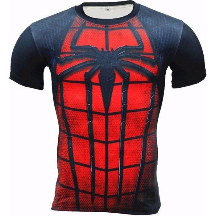 Spiderman Fitness Compression de de Chemise Homme Superman Culturisme  manches longues manche courte T-shirt 3D b3bf5c07875