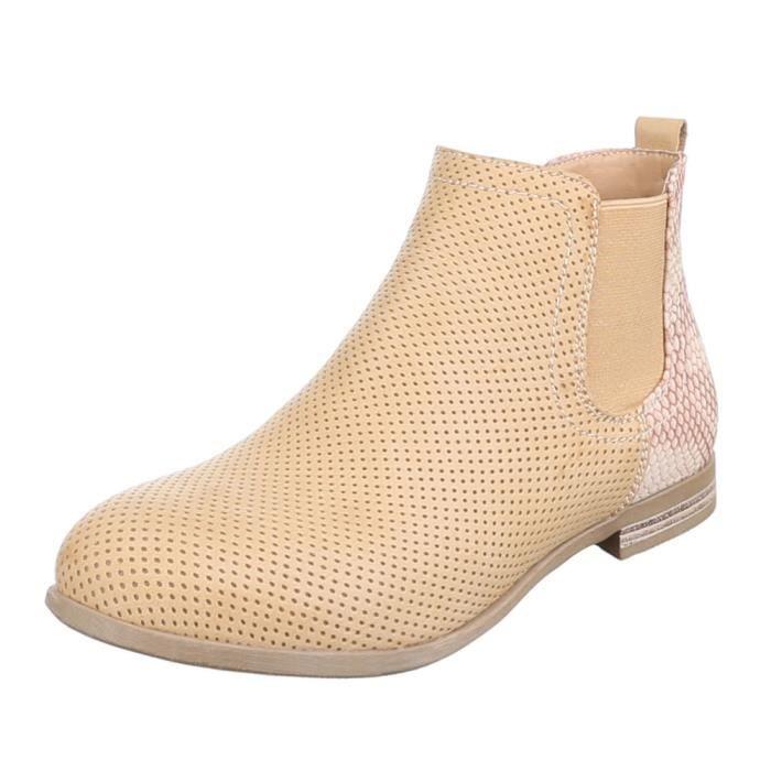 Femme bottillonn chaussure légèrement fourrée bottes châtain clair