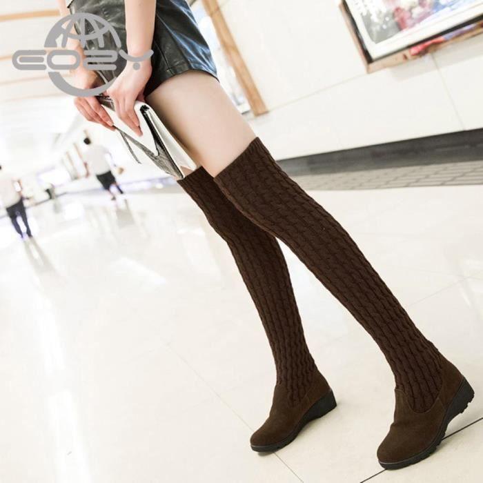 EOZY Bottes Femme Fille Chaussures Vogue Hiver Marron 7xrvigc