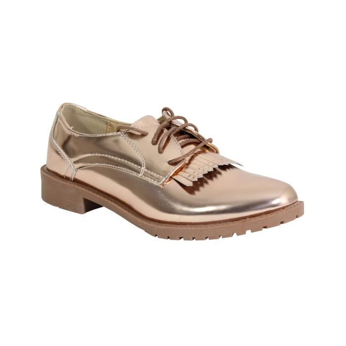 899d90a98c51c By Shoes Chaussure Plate Style Derbies - Femme Beige Champagne ...