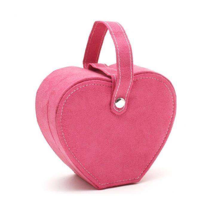 Boîte à bijoux coffret velours cœur avec poignée Rose