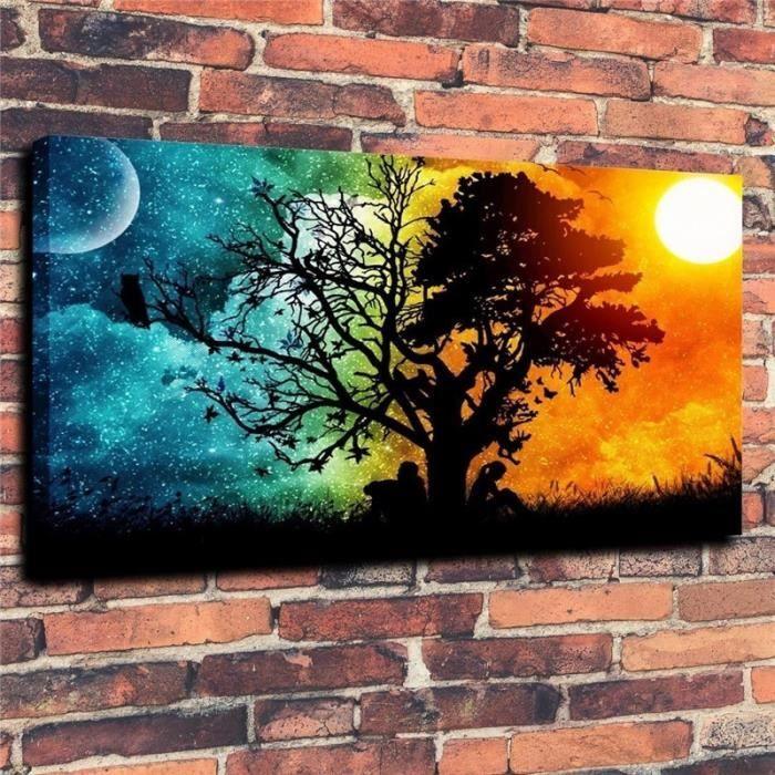 Home Décor Peinture à Lhuile Soleil Et Lune Hd Imprimer Toile
