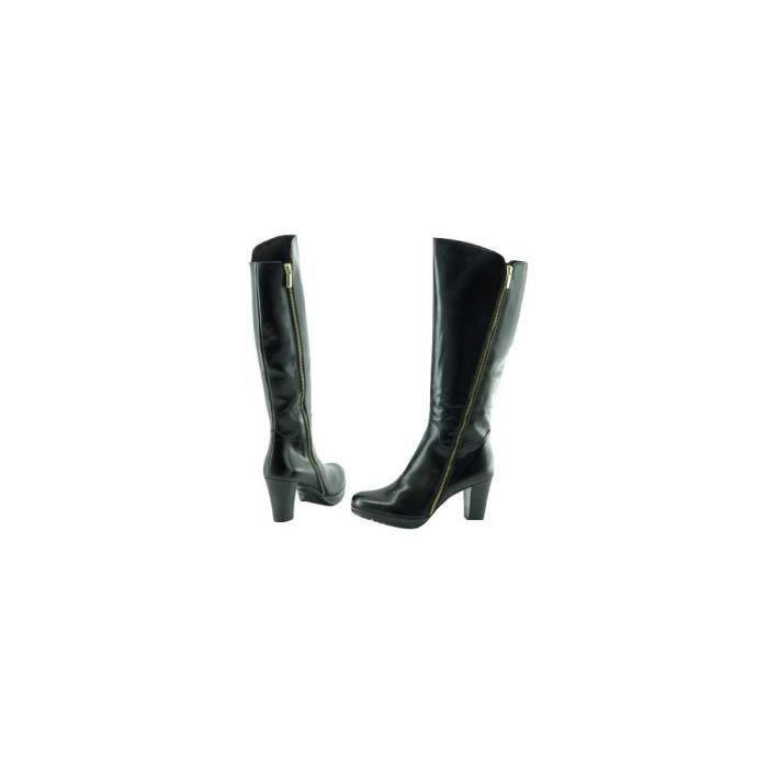 Péralta - Botte mode à plateforme marques Plumers chaussure luxe Femme bottes cuir noir