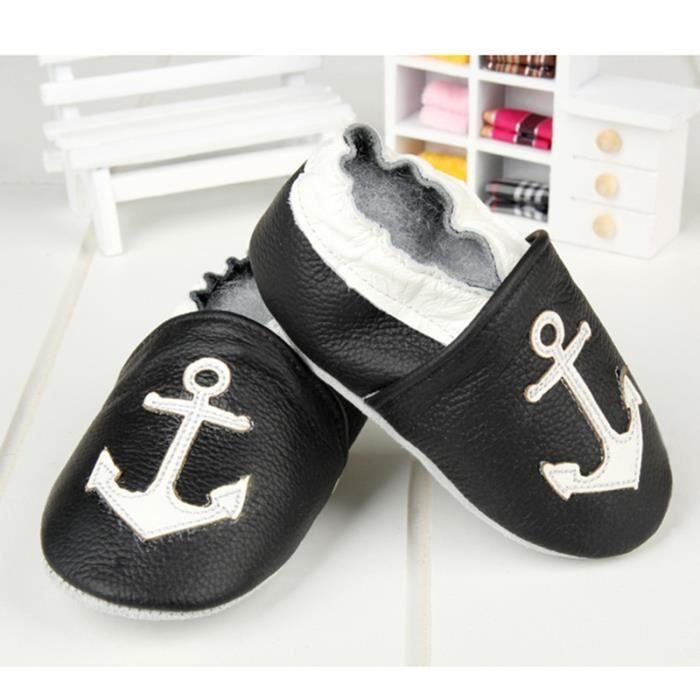 Capitaine noir Chaussons doux petits souliers de bébé en cuir souple