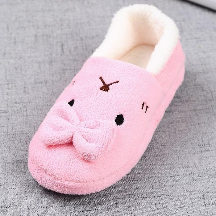 Dames Hommes mignon de bande dessinée de lapin chaud Chaussures anti-dérapantes Coton Pantoufles famille chaussures
