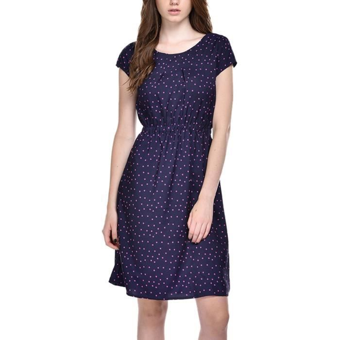 Womens Crepe Navy Blue Color Star Printed Knee Length Dress (bs_7000) KB6OQ Taille-42