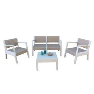 Salon de jardin en plastique 4 places - Achat / Vente Salon de ...
