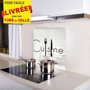 kozeodeco cr dence fond de hotte en verre 600x650mm d cor cuisine couv fond blanc motif noir. Black Bedroom Furniture Sets. Home Design Ideas