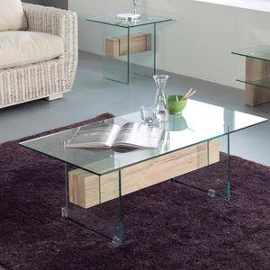 TABLE BASSE Table basse en verre SOHO L 110 x P 60 x H 45 cm T