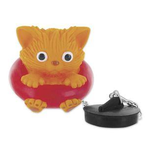 BOUCHON LAVABO Bouchon de baignoire Chat  orange, rouge, en plast