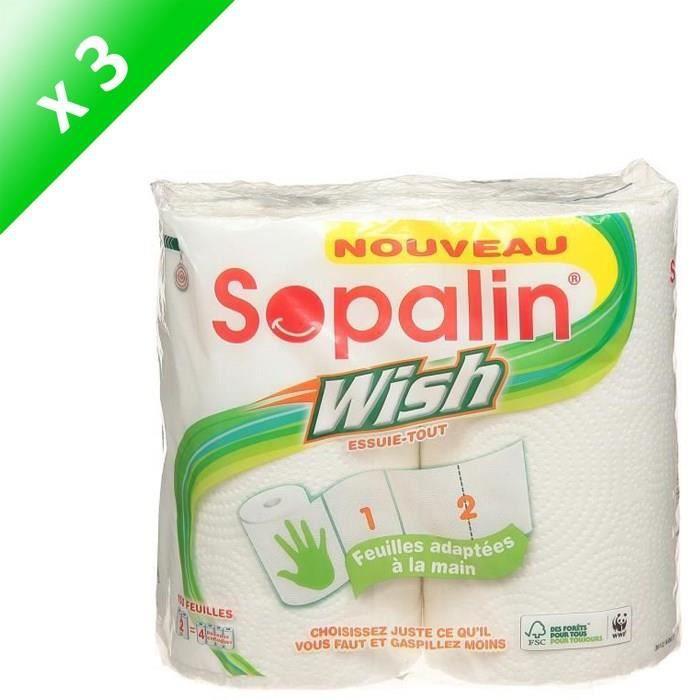 SOPALIN Lot de 3 essuie-tout - 2 rouleaux