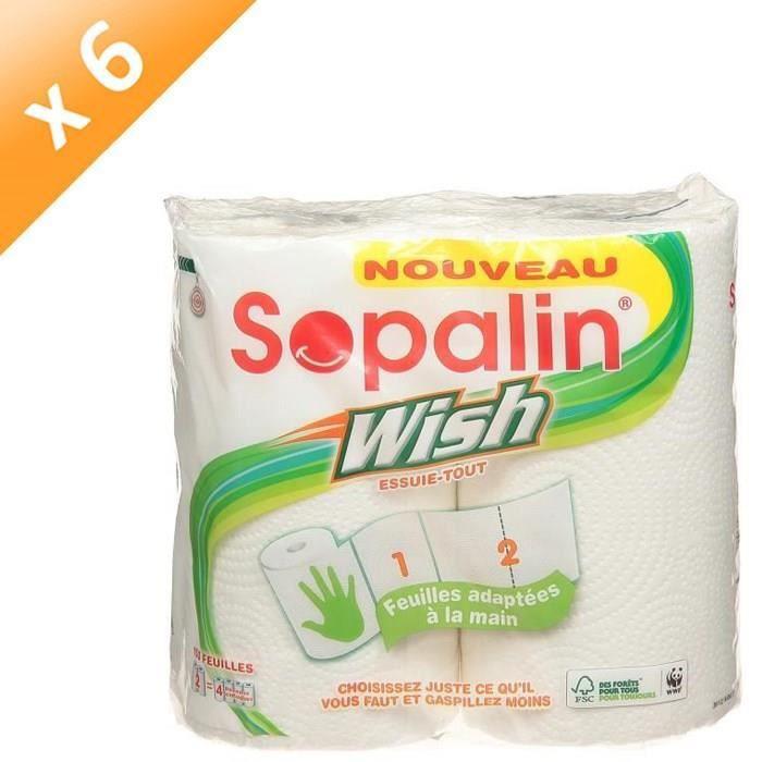SOPALIN Lot de 6 essuie-tout - 2 rouleaux