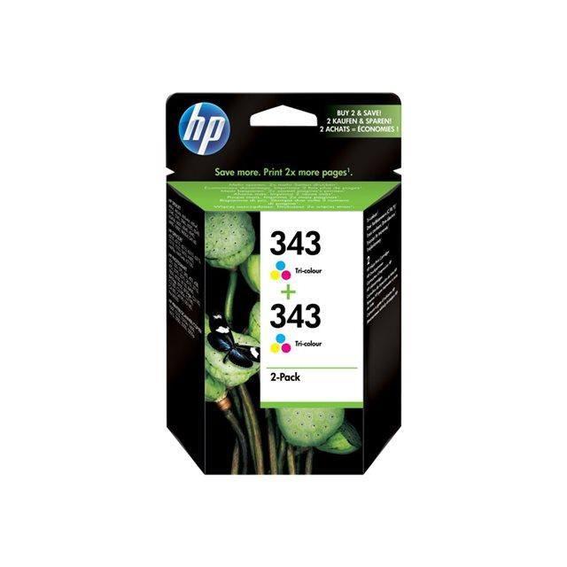 HP 343 Cartouche d'encre Pack de 2 - Tricolore - Encre Vivera - 660 pages - BlisterCARTOUCHE IMPRIMANTE