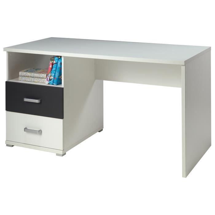 JOSH Bureau 140 cm - Coloris : blanc/gris - Dispose de 2 tiroirs sur coulisses métaux + 1 niche sur le dessus - Dimensions : 140 x 70 x 74 cm - Garantie : 1 an, piècesBUREAU - REHAUSSE BUREAU