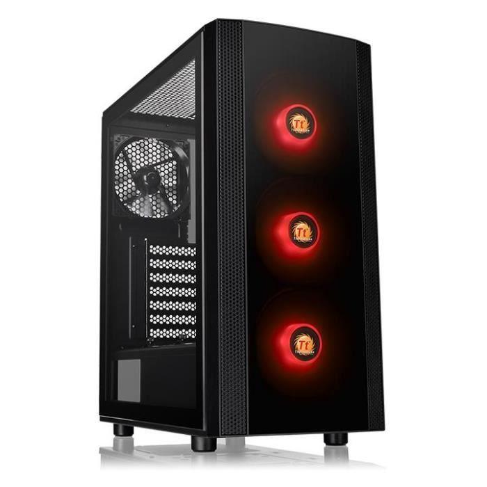 THERMALTAKE Boitier PC Moyen tour ATX - Versa J25 TG RGB - Verre trempé - 3x120mm RGB + 1x120mm - Noir