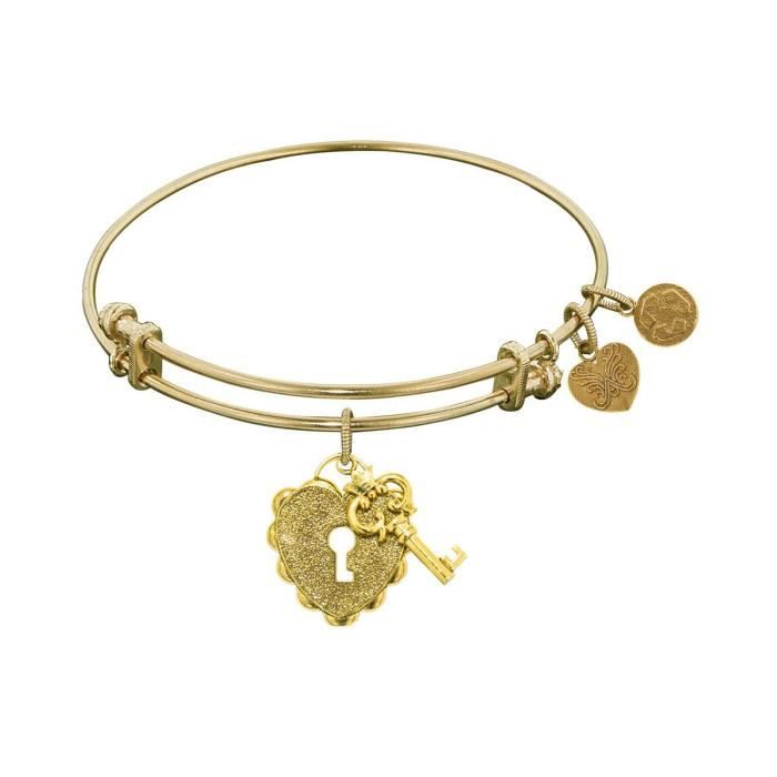 Womens Non-antique Stipple Finish Brass Key To My Heart Bangle Bracelet A4Y81