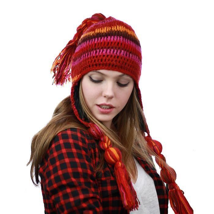 rechercher le dernier dernière mode pas de taxe de vente Bonnet d'hiver népalais en laine doublé de moletton. C10 ...