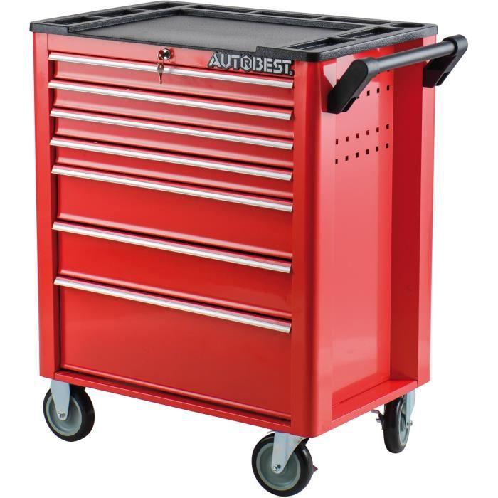 servante atelier roulettes acier rouge 7 tiroirs taille 688x458x890 mm achat vente. Black Bedroom Furniture Sets. Home Design Ideas