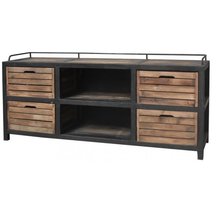 meubles tv style industriel achat vente meubles tv style industriel pas cher cdiscount. Black Bedroom Furniture Sets. Home Design Ideas