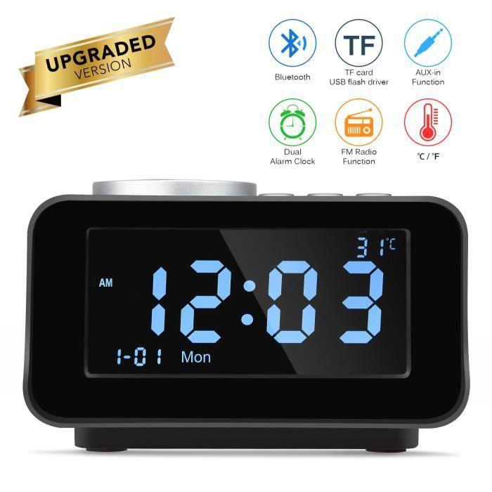 Réveil Intelligent Multifonction Radio Fm Bluetooth Haut-parleur Thermomètre Intérieur Chargeur Usb