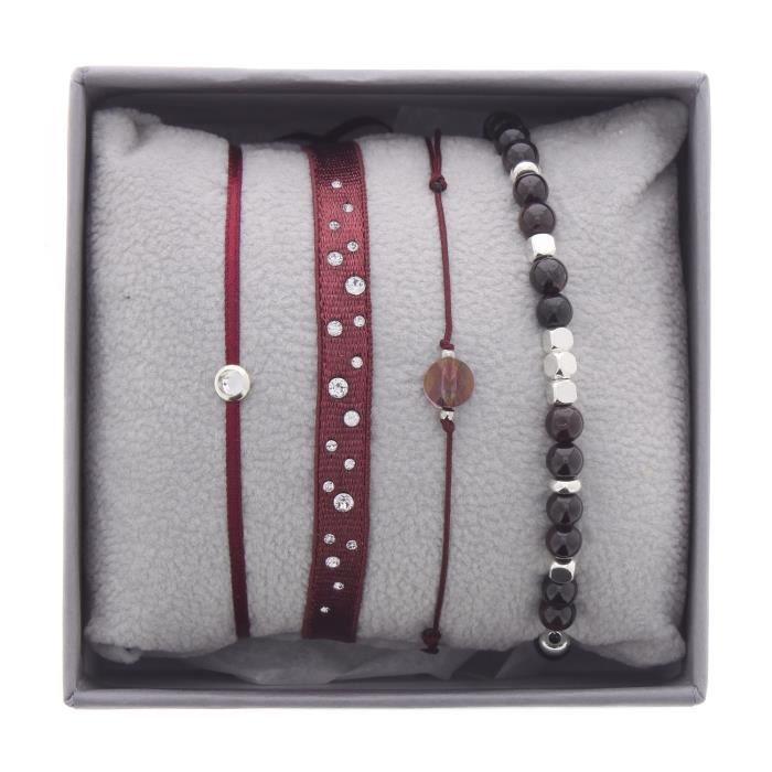 Bracelets Les Interchangeables Strass Box New Scintillement Bordeaux foncé
