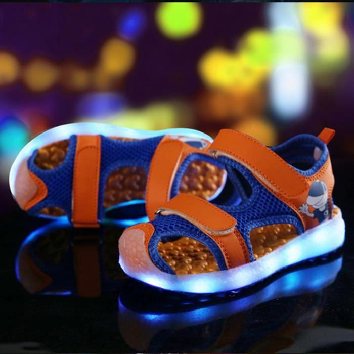 LED Chaussures d'été Sandales Garçon Fille 2016 Pantoufle de plage ur4QcE4