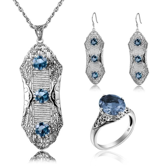 Vintage Parure longue bague -Boucles doreilles-Pendenti Aigue-marine Element 925 Argent motif fleur bijoux fantaisie femme conce…
