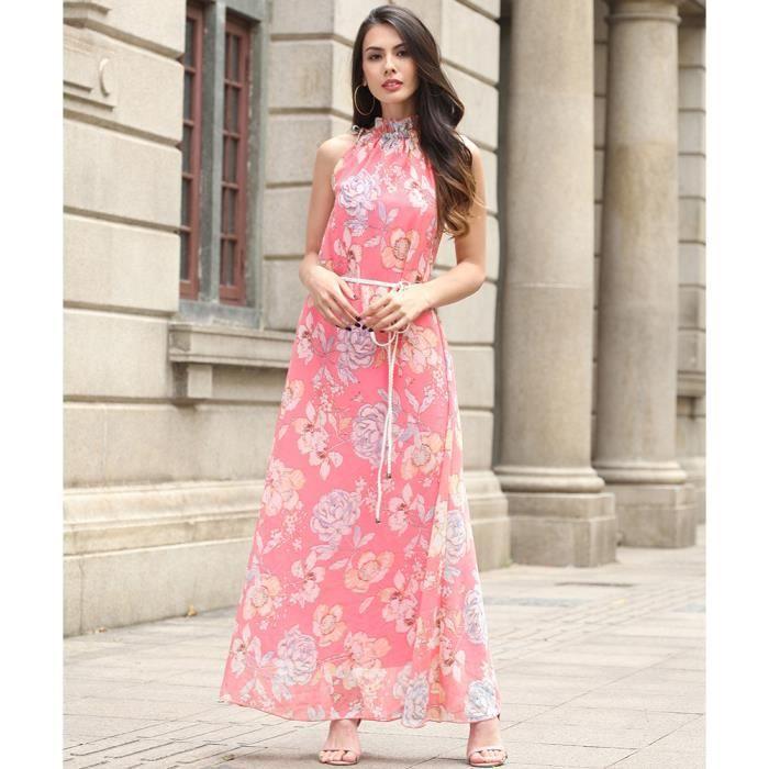 Channy® Femme Robe dété Longue Maxi Bohème en Floral Imprimé Robe de Plage Sans Manche - rose claire