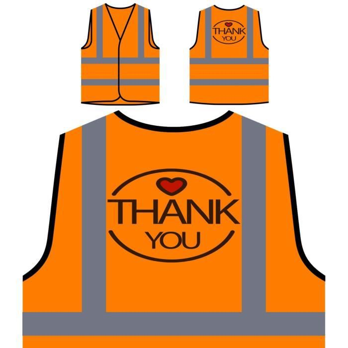 Personnalisée nouveau Visibilité Haute Veste Visibili Merci À Protection De Orange f6Paq