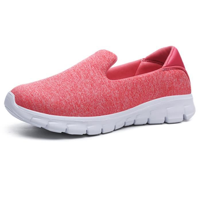 Moccasin Femme Léger Durable 2018 Nouvelle mode Moccasins Meilleure Chaussure Confortable Respirant Grande Taille rouge 35-42 wkxcUWa9S