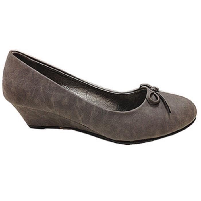 Fashionfolie888 - Femmes Chaussures Escarpins Compensé Talons Ballerine 2026 Gris