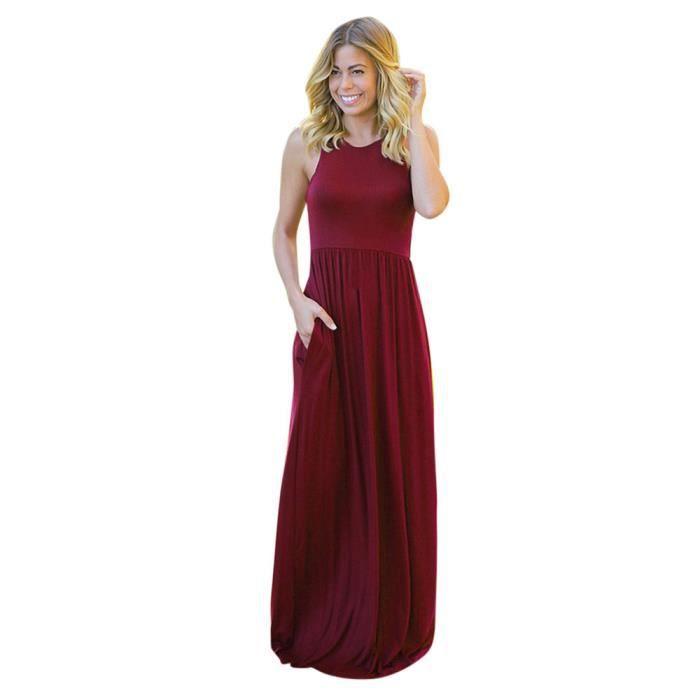 Napoulen®Mode Solid Long Boho Maxi Robe de Plage Été Sundrss pour femmes Rouge vin LNP80307362WE