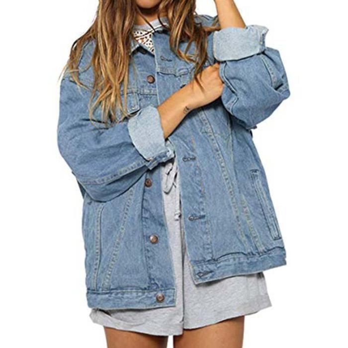 super populaire ee2a0 0ddd0 Femme Automne Hiver Denim Veste Vintage manches longues Jeans loose Manteau  Bleu ciel