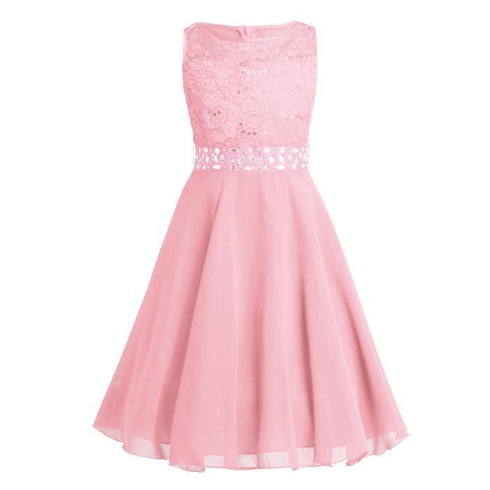 ade0b719c958d 2-14 Ans Enfant Fille Fleur Princesse Robe de Soirée Dentelle Tulle Tutu  Robe de Cérémonie Rose