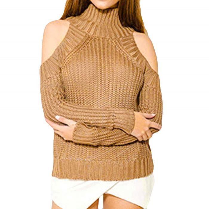 grand choix de 355f7 478a4 Pull Femme Hiver en Maille DéContractéE Sweater Pas Cher A La Mode Blouse à  Col Roulé en Tricot &agr