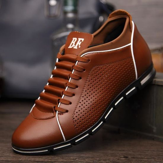 dba2b67be6776e Chaussures de sport Pour hommes Solide En cuir Perméable à l'air Marron -  Achat / Vente chaussures multisport - Soldes d'été dès le 26 juin Cdiscount