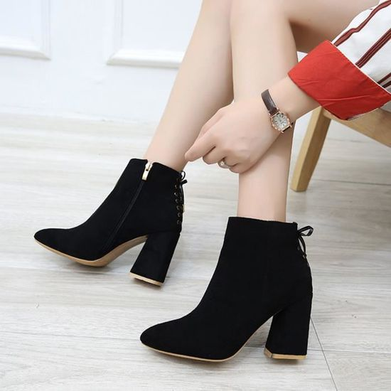 Mode Mode Mode femme Bottes tête pointue Gros Bas Martin Bottes Classique Bottines Noir Noir - Achat   Vente botte 3dfede