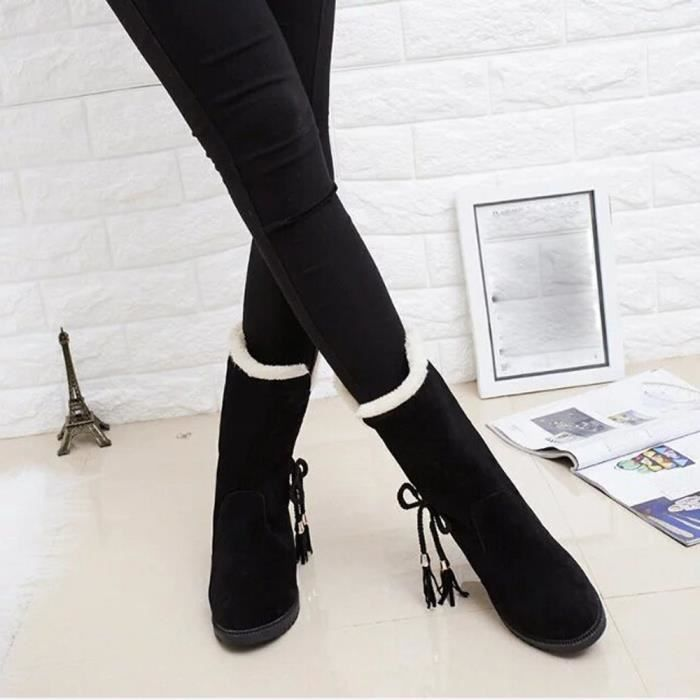 Mode Talons D'hiver Chaussures love2508 Femme Neige Bottines De Noir Beguinstore Bottes xI6wqR801