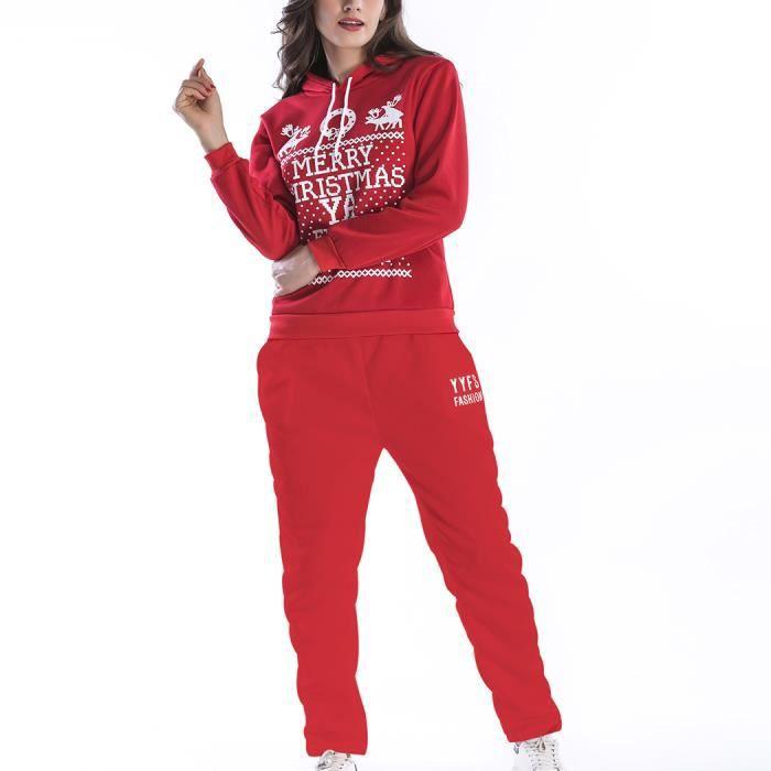 Jogging Imprimé Rouge Ensemble Survêtement Gym Pull Noël Pièces 2 Longue  Sport Femme Pantalon Père Top Du Manche ... ef6d2fafd6f