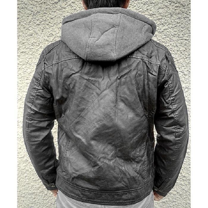 Veste Capuche Homme Manteau Noir Blouson D215 Simili Jacket Cuir Hiver  Fourrure O7qpqfw 291a2a8520b4