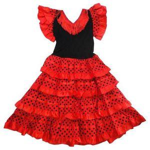 222e5c17bced4 DÉGUISEMENT - PANOPLIE Robe de danse FLAMENCO fillette 10 ans rouge pois