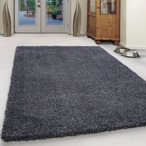 TAPIS Extreme confortable Coton Shaggy Unifarbe-Anthraci