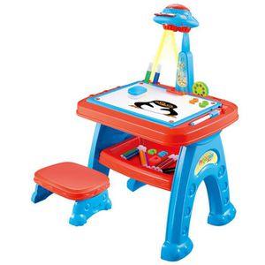 TABLE JOUET D'ACTIVITÉ Bureau enfants avec Projecteur de dessin Planche à