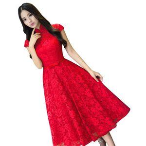 36b792c14b4 Robe de Soiree Élégant femme Cocktail Party Rouge VV05420-1 Rouge ...