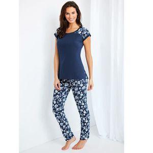 a33d78d763d8d PYJAMA Pyjama 2 pièces tee-shirt pantalon à fleurs femme