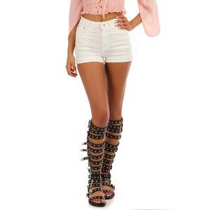 6d1a42c797 SHORT Short en jean blanc taille haute avec ourlets-M